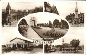 Leicester United Kingdom Midland Station London Road Clock Tower Fire Station War Memorial Gardens Valentine's Post Card / Leicester /Leicestershire