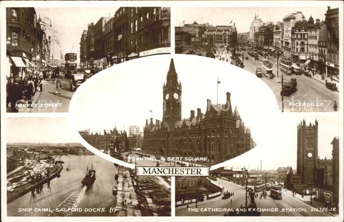 Manchester Market Street Piccadilly Ship Canal Salford Docks Cathedral Exchange Station Town Hall Albert Square Kat. Manchester