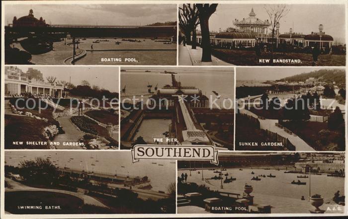 Southend-on-Sea Boating Pool Bandstand Shelter Gardens Pier Sunken Gardens Swimming Baths / Southend-on-Sea /Southend-on-Sea