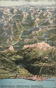 Montreux VD et Lac Leman Panoramakarte / Montreux /Bz. Vevey