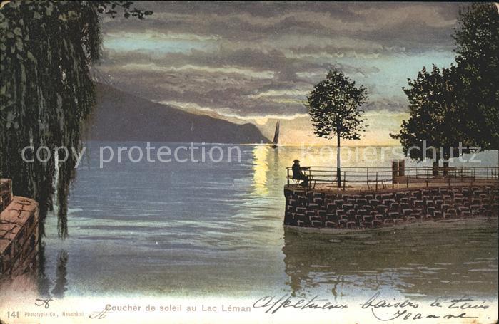 Lac Leman Genfersee Coucher de soleil  / Genf /Bz. Geneve City