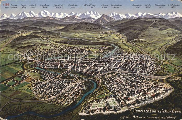 Bern BE Aus der Vogelschau mit Schweizer Landesausstellung Alpenpanorama Kat. Bern