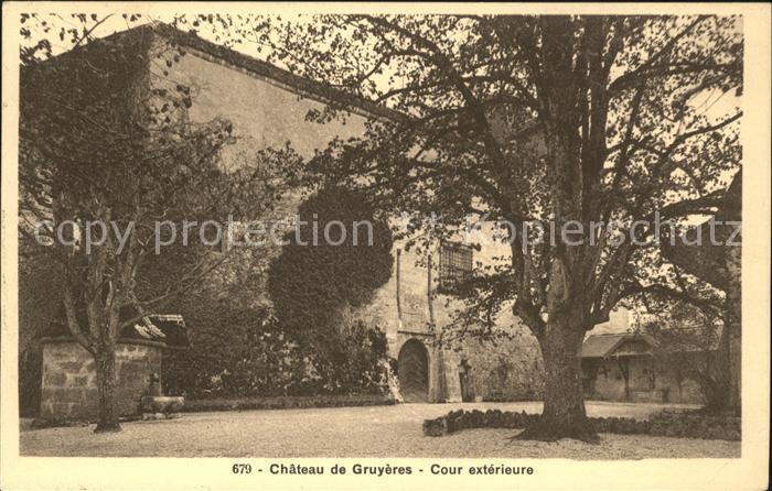 Gruyeres FR Chateau de Gruyeres Cour exterieur Kat. Gruyeres