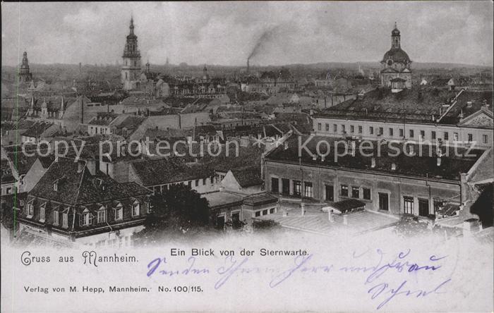 Mannheim Blick von der Sternwarte Kat. Mannheim