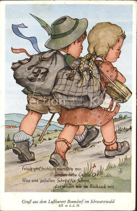 Bonndorf Schwarzwald Kinder auf Wanderschaft mit Rucksack Illustration Kat. Bonndorf