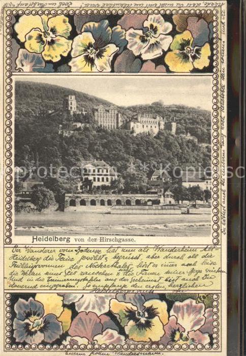 Heidelberg Neckar Schloss von der Hirschgasse Kat. Heidelberg