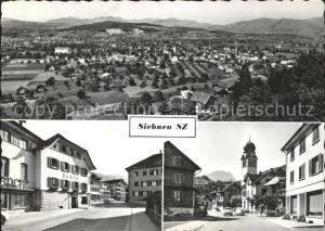 Siebnen Kirche Strassenansichten Ortsansicht Kat. Siebnen