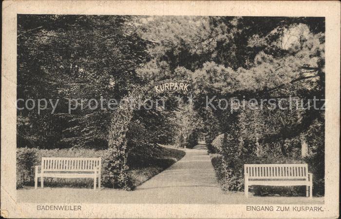 Badenweiler Eingang zum Kurpark Kat. Badenweiler