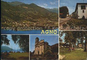 Agno Totalansicht Hafen Kirche Dorfstrasse Kat. Agno