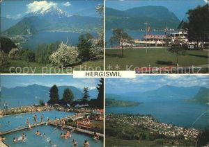 Hergiswil NW mit Pilatus Kurpark Strandbad Buergenstock Rigi / Hergiswil NW /Bz. Nidwalden