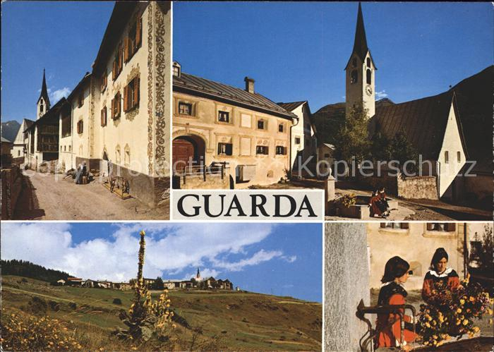 Guarda Inn Dorfpartie Teilansicht Kirche Trachtenfrauen Kat. Guarda