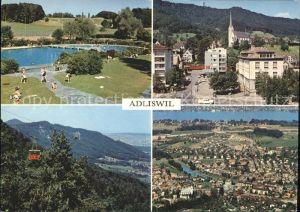 Adliswil Fliegeraufnahme Kirche Luftseilbahn Schwimmbad Kat. Adliswil