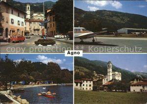 Agno Strassen und Bootspartie Flugplatz Kirche Kat. Agno