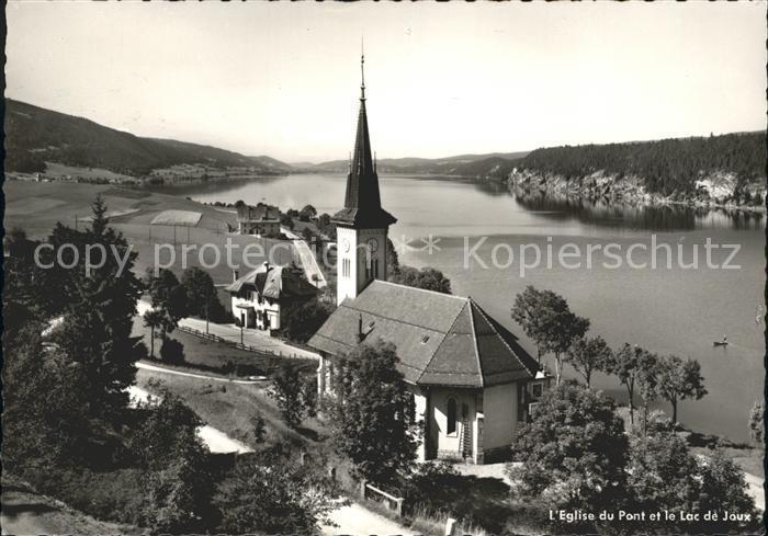 Le Pont VD L  Eglise du Pont et le Lac de Joux Kat. Le Pont
