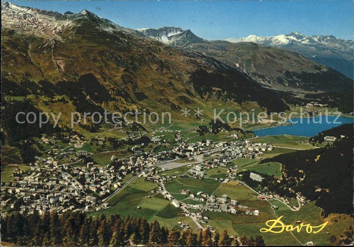 Davos GR Blick auf Englisch Viertel Dorf Davosersee und Wolfgang Kat  Davos