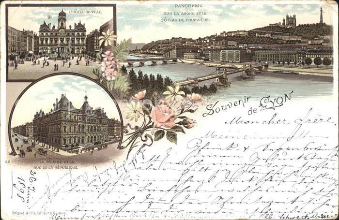 Lyon France Panorama Sur la Saone et le Coteau de Fourviere Hotel de Ville Rue de la Republique Kat. Lyon