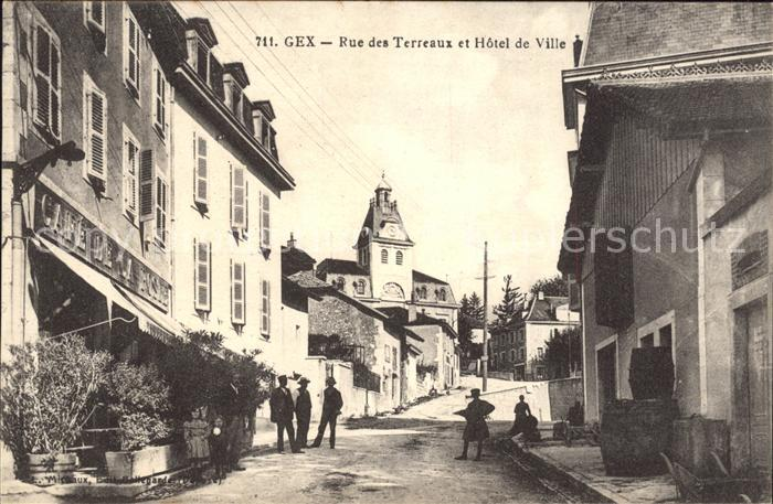 Gex Rue des Terreaux et Hotel de Ville Kat. Gex