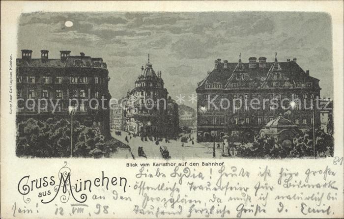 Muenchen Blick vom Karlsthor auf den Bahnhof Kat. Muenchen