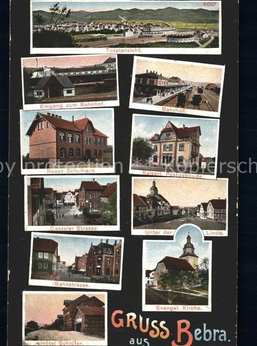 Bebra Totalansicht Bahnhof Schulhaus Post Strassenpartie Kirche Hotel Kat. Bebra