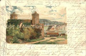 Mainz Rhein Eisenbahnbruecke Kuenstlerkarte / Mainz Rhein /Mainz Stadtkreis