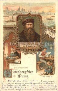 Mainz Rhein Portrait Johann Gensfleisch zu Gutenberg Buchdruck 500-jaehrige Gutenbergfeier Offizielle Festpostkarte / Mainz Rhein /Mainz Stadtkreis