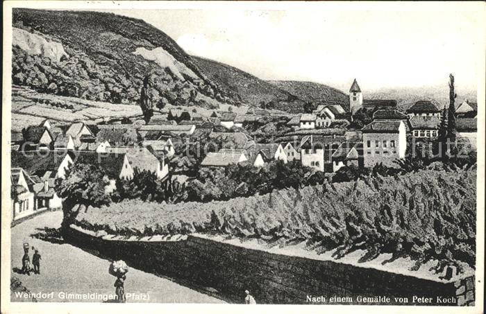 Gimmeldingen Gesamtansich Weindorf Kuenstlerkarte nach Gemaelde von Peter Koch Kat. Neustadt an der Weinstr.