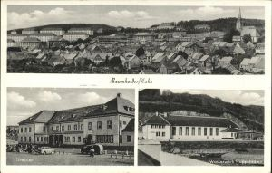 Baumholder Nahe Teilansicht mit Kirche Theater Wasserwerk Hoppstaedten Kat. Baumholder