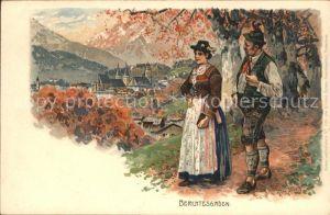Berchtesgaden Trachten Kuenstlerkarte Fritz Bergen Kat. Berchtesgaden