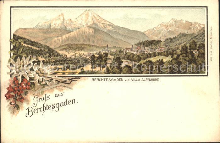 Berchtesgaden Panorama Blick von Villa Alpenruhe Kat. Berchtesgaden