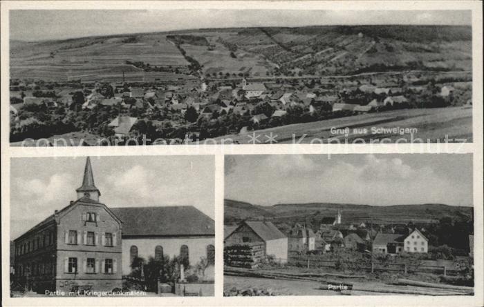 Schweigern Panorama Kirche Kriegerdenkmal Kat. Boxberg