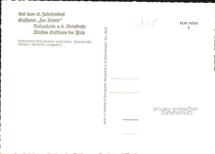 Deidesheim Gasthaus Zur Kanne Historisches Gebaeude 12. Jhdt. Kat. Deidesheim 1