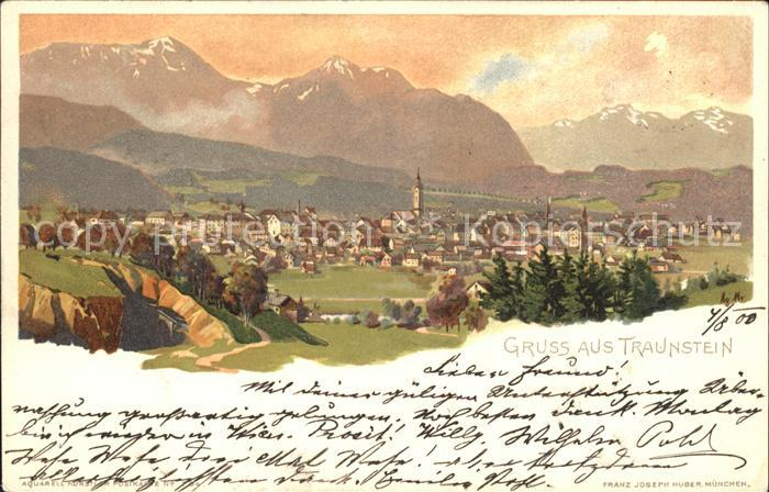 Traunstein Oberbayern Gesamtansicht mit Alpenpanorama Kuenstlerkarte Kat. Traunstein