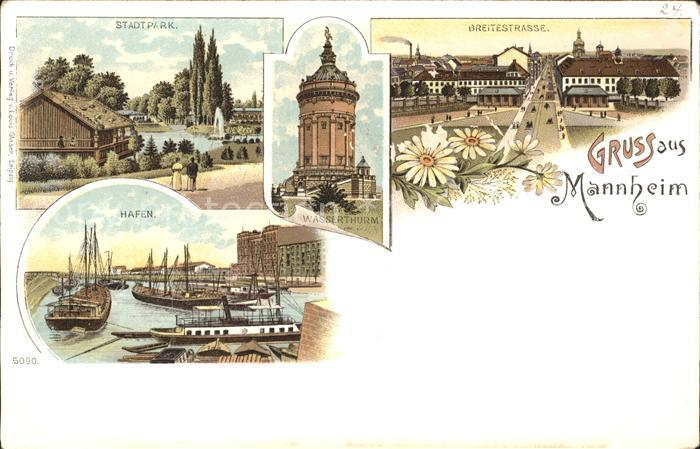 Mannheim Stadtpark Wasserturm Breitestrasse Hafen Schiffe Kat. Mannheim