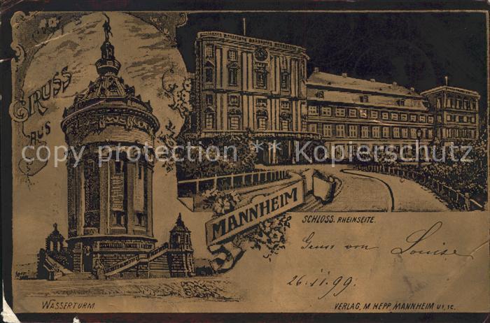 Mannheim Schloss Wasserturm Kat. Mannheim