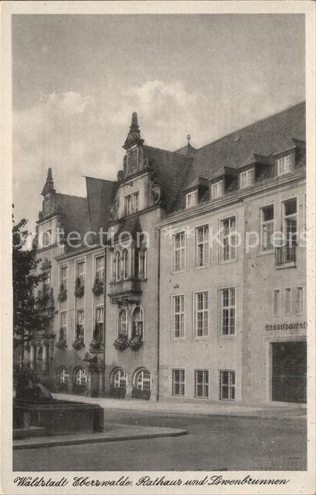 Eberswalde Waldstadt Rathaus und Loewenbrunnen Kat. Eberswalde Waldstadt