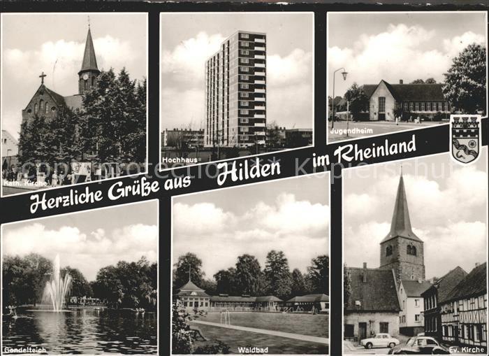 Hilden Duesseldorf Kath Kirche Hochhaus Jugendheim Gondelteich Waldbad Ev Kirche Kat. Duesseldorf
