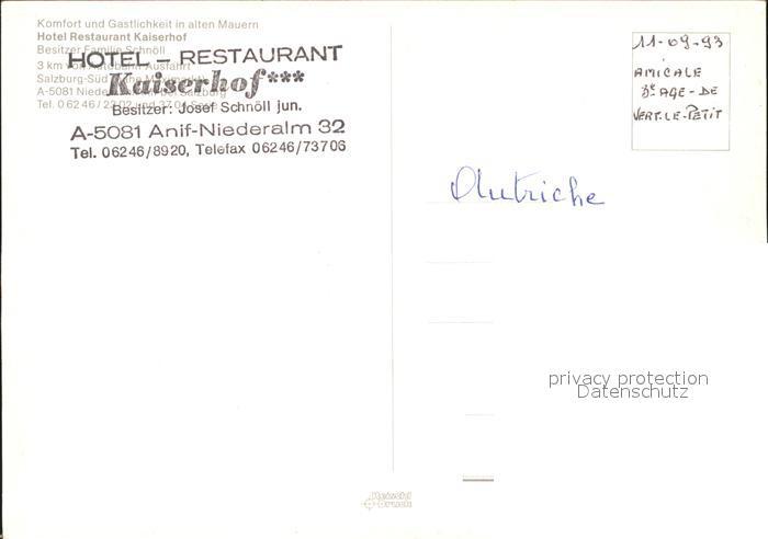 Anif Niederalm Hotel Restaurant Kaiserhof  Kat. Anif 1