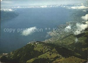 Rochers de Naye Fliegeraufnahme Caux Montreux Vevey Lac Leman Genfersee Kat. Rochers de Naye