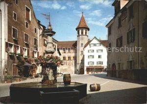 Maienfeld Staedtliplatz und Brunnen Kat. Maienfeld
