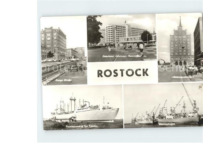 Rostock Mecklenburg Vorpommern Schiffe Lange Strase Interhotel Warnow Hafen Kat. Rostock