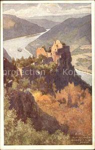 Aggsbach Aggstein Burgruine Erste Donau Dampfschiffahrtsgesellschaft Wien Kuenstlerkarte Kat. Aggsbach