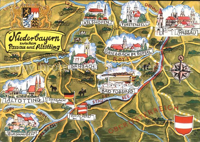 Passau Landkarte Niederbayern Altoetting Kat. Passau