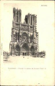 Reims Champagne Ardenne Cathedrale Facade et Statue de Jeanne d Arc Kat. Reims