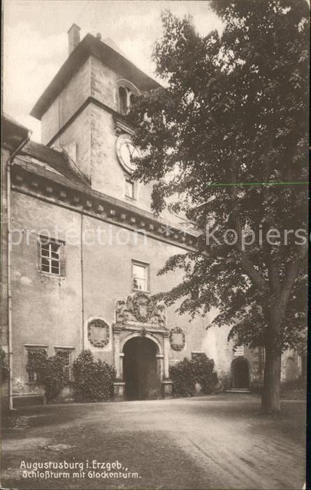 Augustusburg Schlossturm mit Glockenturm Erzgebirge Kat. Augustusburg
