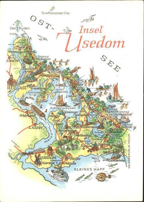 Usedom Landkarte Lassan Wolgast Kroeslin  Kat. Usedom