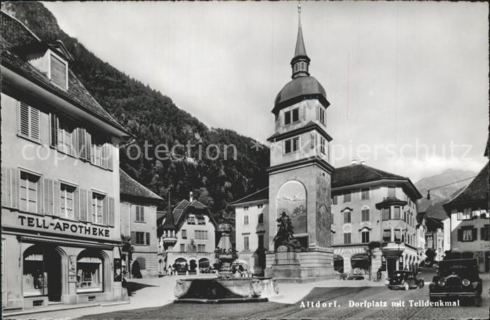 Altdorf UR Dorfplatz mit Telldenkmal Kat. Altdorf UR