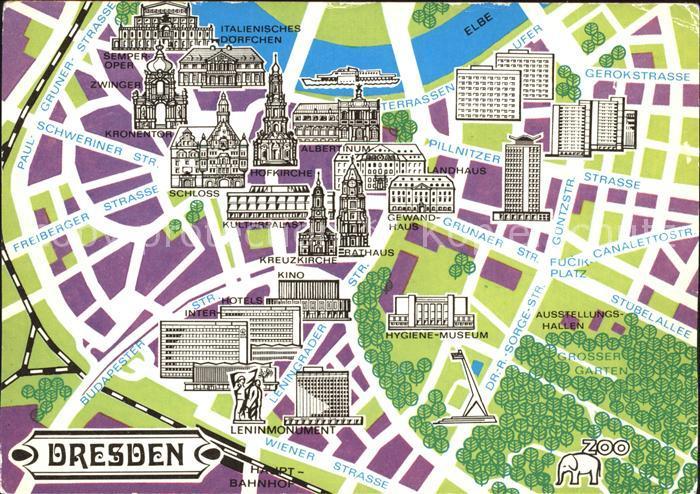 karte dresden Dresden Karte Leninmonument Kreuzkirche Schloss Zwinger Kat