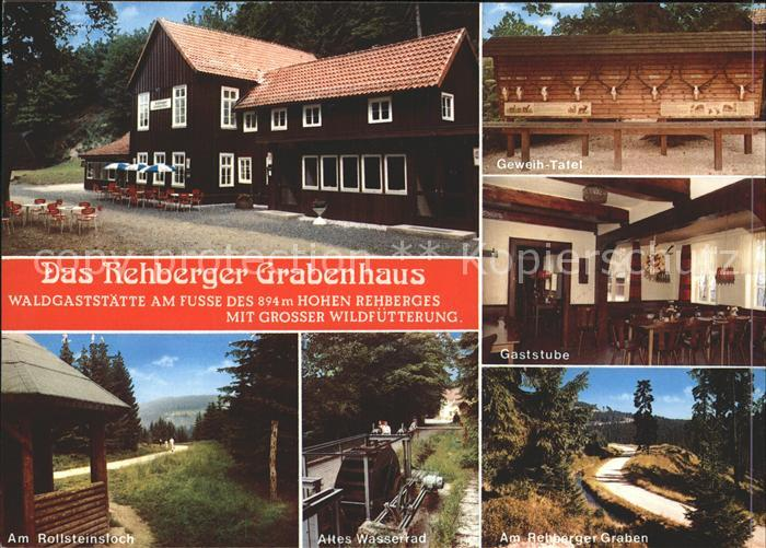 St Andreasberg Harz Waldgaststaette Rehberger Grabenhaus Geweih Tafel Rollsteinloch Altes Wasserrad Rehberger Graben Kat. Sankt Andreasberg
