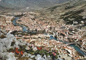Mostar Moctap Fliegeraufnahme mit Bruecken Kat. Mostar