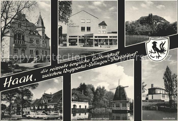 Haan Rheinland Rathaus Stadtsparkasse Kaiserstr Heidberger Muehle Kath Kirche Kat. Haan